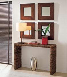 Consola de rattan y espejos de teca. Ref, 0072.jpg