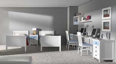 Distribuci n de muebles en un dormitorio infantil for Escritorios dobles juveniles