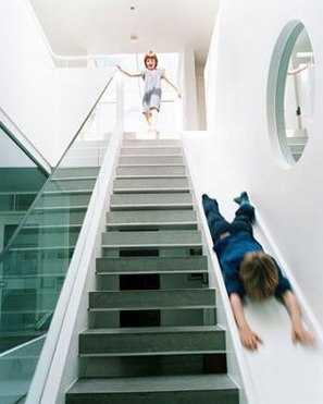 Original escalera con tobog n para los ni os infantil - Escaleras semi caracol ...
