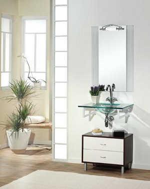 este mueble consta de tres piezas el espejo con marco de madera y de lmparas un lavabo hecho en porcelana y un