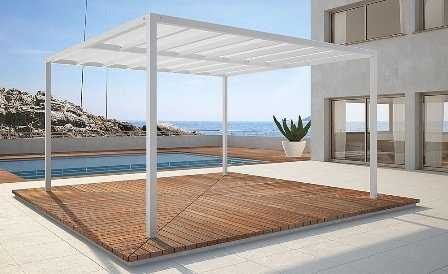Decoraci n de terrazas porches p rgolas y toldos for Bases para pergolas