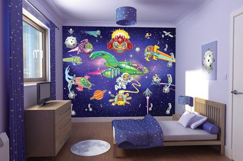 Decoración con mural espacial