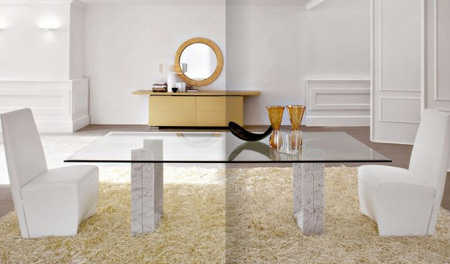Ideas de decoraci n acabados con m rmol muebles - Mesas de marmol y cristal ...