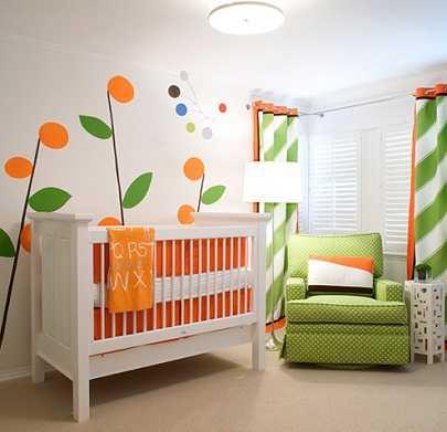Dormitorio infantil naranja excelente opci n para tu ni a - Habitaciones infantiles verdes ...
