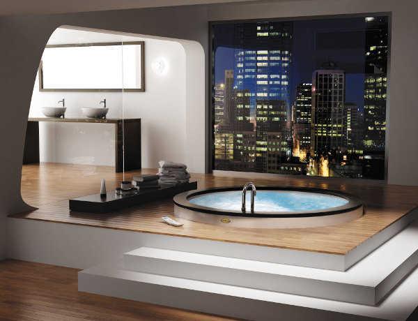 Baños Con Tina De Cemento:Si es posible tener una buena vista, aprovéchala para ubicar tu tina