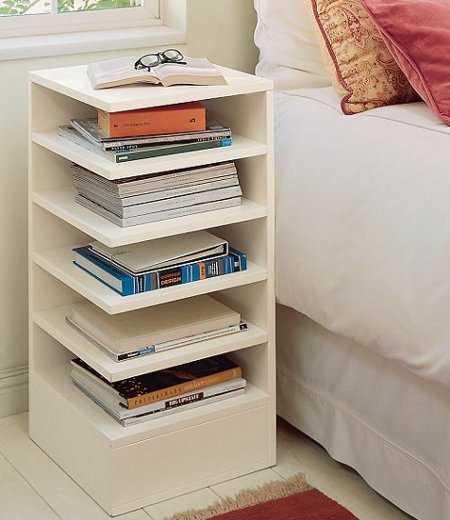 Mesitas de noche para espacios pequenos dormitorio for Awesome small bedside table ideas