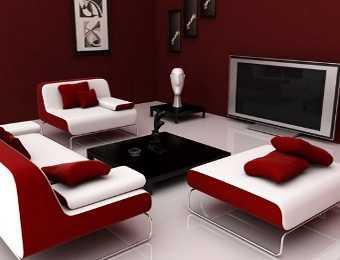 Decoraci n de sala en rojo lo que buscabas sala for Muebles de sala amazon