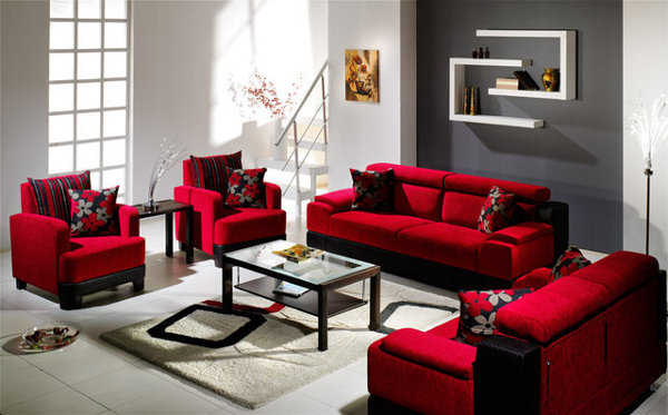 Decoraci n de sala en rojo lo que buscabas sala for Muebles rojos para sala