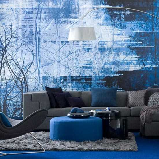 Sala en azul una decoraci n ideal sala decora ilumina for Black and blue wallpaper for living room