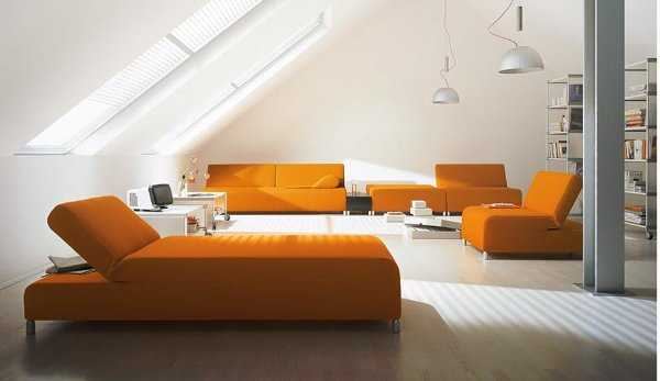 Nueva tendencia en juego de sala el color naranja est for Muebles para sala modernos