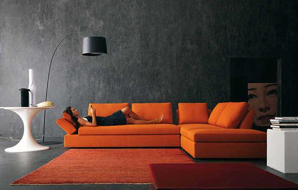 Muebles de color naranja para una sala moderna