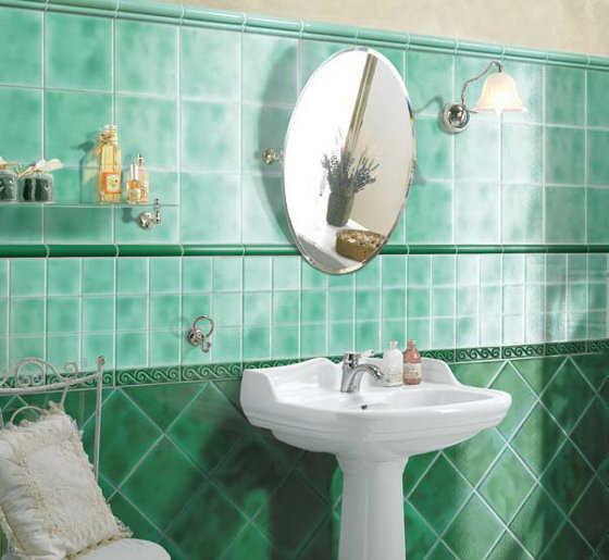 Baño Verde Con Blanco:También puedes combinar dos tipos de verde, e incluso dos diseños