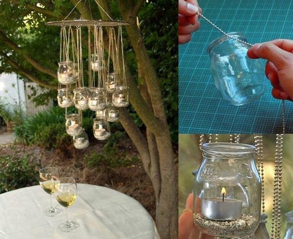 Haz tú misma un candelabro romántico para tus cenas al aire libre, usando solo alambre, frascos de vidrios y velas