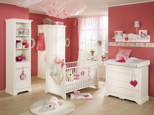 Cute Pink Nursery Interior White Wooden Baby Furniture Sets